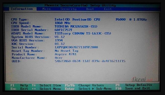 Melihat tipe laptop lewat BIOS