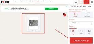 convert jpg to pdf via ilovepdf