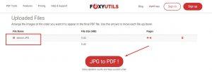 proses konversi jpg to pdf foxyutils