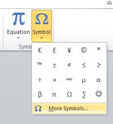More simbol ceklis di word